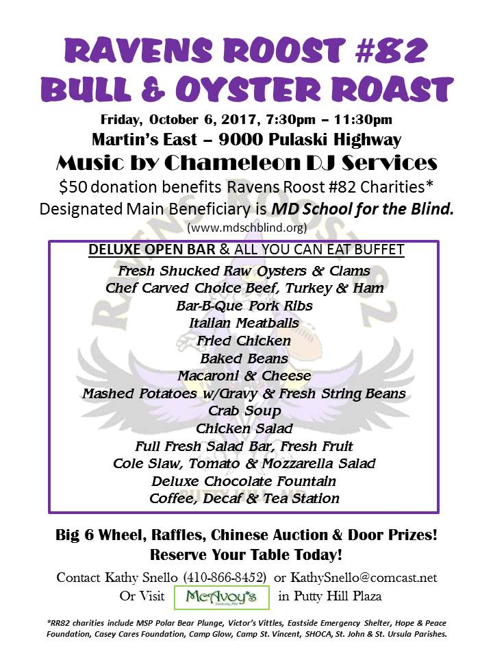 2017 Ravens Roostt 82 bull roast – Maryland School for the Blind